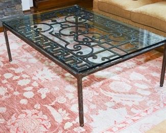 Antique Wrought Iron Scroll work Mounted as Glass Top Coffee Table