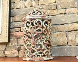 Ceramic Lidded Open Scroll Work Lidded Jar