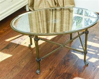 Classical Styled Brass and Mirror Circular Coffee Table