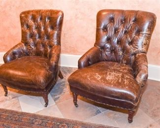Pair Leather Tufted Back Club Chairs
