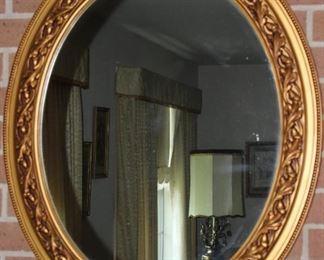 """Gold Syroco Style Vintage Oval Wall Mirror (27.5""""x 33"""" ) (2 ea. Available)"""