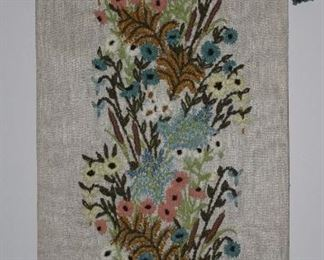 """Handmade Crewel Embroidered on Linen Floral Wall Hanging (22.5"""" x 55.5"""")"""