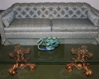 "-Clyde Pearson Highpoint N.C. Mid-Cebtury Sage Green Brocade Upholstered Buttoned Tuffed Back Sofa With Blustered Arm Pillows - Hollywood Regency  Gold Guilled  Scrolled Acanthus Leaf Tri-footed double Pedestal  Glass Top  cocktail (60""W x 26""D x 15 3/4 ""H)"
