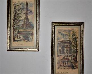 """-Eiffel Tower Paris, France Vintage Print                                                      -""""Arc de Triumph"""" Paris, France Vintage Print"""