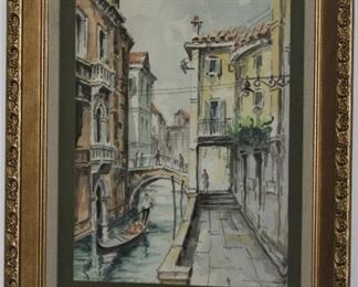 """""""Venetian Canal"""" scene with Gondola water color, Signed by Artist in a Lenin Matt Gold Leaf Frame (16""""x 20"""")"""