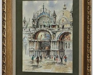 """Basilica San Marco Venezia Italy Water Color, Signed by Artist in a Lenin Matt Gold Leaf Frame (16""""x 20"""")"""