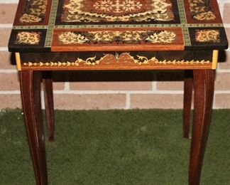 "Sorrento Inlaid Marquetry ""Laura's Theme"" Jewelry Box Table"