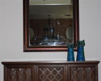"-Mediterranean Vintage All Wood Credenza (54""W x 15 5/8""D x 29"" H)                                                                                                     -Turner Vintage Wall Mirror within 4"" All Wood Frame (35.5"" x 39.5"")"