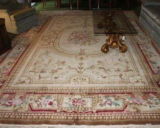 Vintage/Mid-Century Karastan Handwoven/ Tied Beige  Wool Floral Print Area Rug