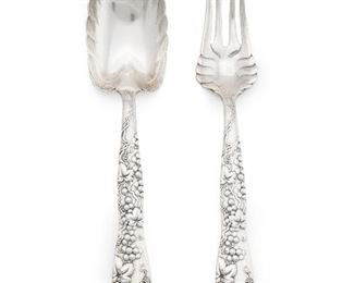 """3 A Tiffany & Co. """"Vine-Multi"""" Sterling Silver Serving Set Circa 1872-1891 Each stamped: Tiffany & Co. / Sterling; Further stamped for Edward C. Moore dates: [M] Comprising a cold meat serving fork (8.75"""") and serving spoon (8.625""""), 2 pieces 5.115 oz. troy approximately Estimate: $300 - $500"""