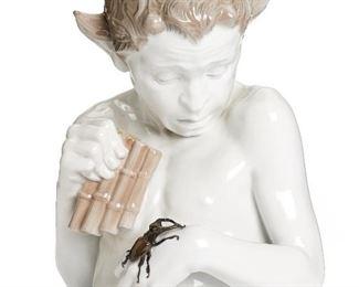 "7 A Ferdinand Liebermann Porcelain Sculpture, ""Schreck"" Circa 1910 Signed to reverse for artist and Rosenthal AG: Ferd. Liebermann The porcelain Pan figure with scarab 16.5"" H x 12"" W x 8.5"" D Estimate: $3,500 - $4,500"