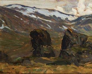 """11 Gustav Wentzel 1859-1927, Norwegian Mountain Landscape, 1919 Oil on board Signed and dated lower left: Gustav Wentzel, dated again and inscribed in Norwegian verso 10"""" H x 16.25"""" W Estimate: $1,000 - $1,500"""