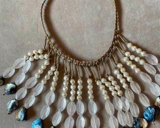 012 Chicos Fringe Bib Necklace Blue
