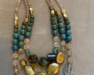 016 Gold and Blue Beaded Chicos Necklace