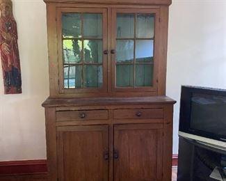 Primitive Pennsylvania Pine Flat Cupboard Stepback Early American Circa 1800