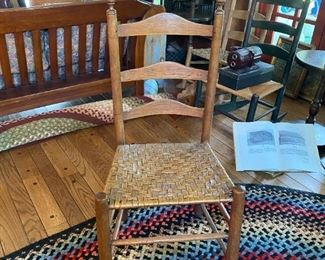 Primitive Ladder Back Chair Circa 1780 Early American Woven Seat