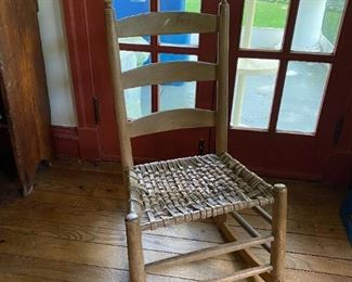 Primitive Early American Rocking Chair Woven Seat Ladder Back Circa 1820