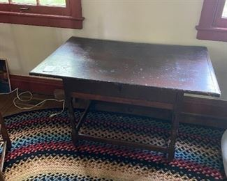 Antique New England Pine Tavern Table Stretcher Base with Drawer 18th Century Circa 1720