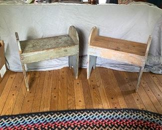 Antique Primitive Early American Rustic Pine Benches Pair circa 1830