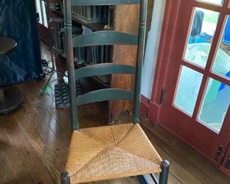 Primitive Early American New England Rocking Chair Woven Seat Ladder Back Cheese Cutter Circa 1780