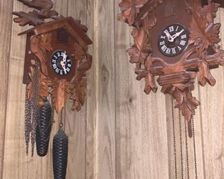 Over 20 coo coo clocks and if you like to fix clocks, there are several drawers of clock parts