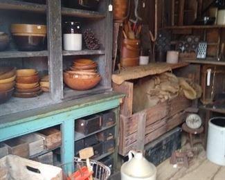 Crocks jugs wood bowls
