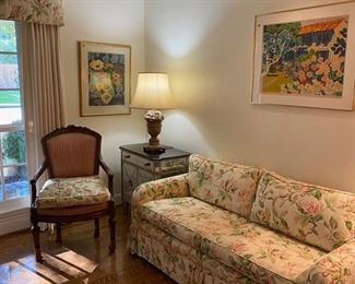 Fabulous furniture! Pair of mirror chests, pair of french chairs. Lythographs by Caron, sofa and pair of lamps!