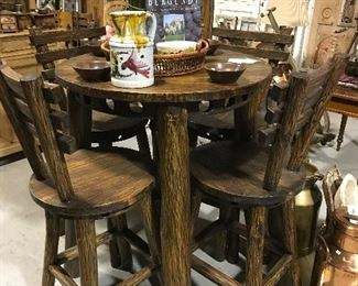 Rustic bar height table & barstools