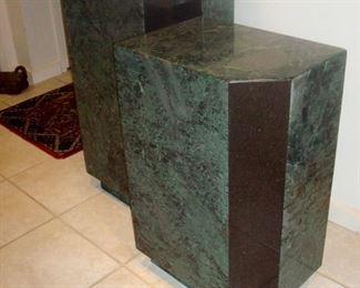 Pair granite pedestals.