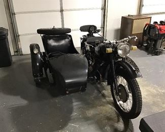Reproduction of Russian Motorcycle with Attached Sidecar (made in Japan). Believed to need a starter.