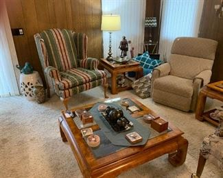La-z-boy recliner, Nice wing back chair, 2 end tables and coffee table.