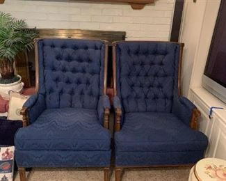 #17	(2) Royal Blue Wingback Chairs w/Wood Arms   $75 each	 $150.00 	 call 256-603-4198