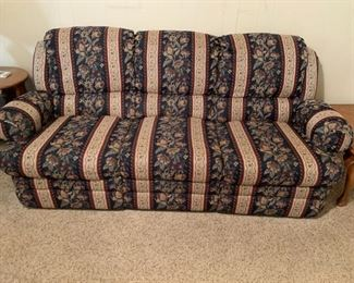 "#20	Navy/Burgandy double Recliner Sofa  80"" Long	 $125.00 	 call 256-603-4198"