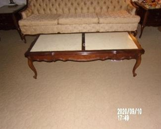 1960'S FRENCH PROVINCHAL COFFEE TABLE AND 2 SIDE TABLES
