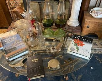 Oil Lamps, Glass top table