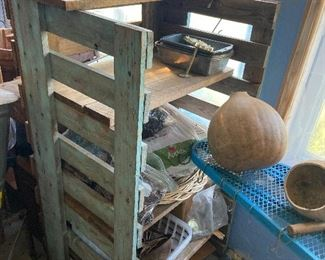 Primitive Blue Farm Display Shelf