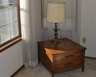 """Mid-century two-drawer square lamp table 26"""" square and 18"""" high, Stiffel table lamp"""