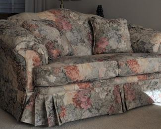 """Schnadig floral upholstered camel back rolled arm loveseat with removable seat cushions and pillows 66"""" long"""