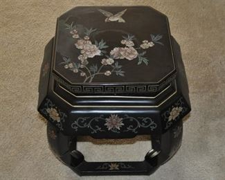 """Chinoiserie rounded square stand 13"""" square at top 17"""" at bottom and 18"""" high"""