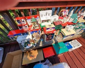 huge holiday village collection with boxes, includes lighting and accessories too!!