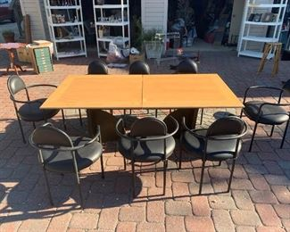 Custom Made table 80s deco style With 8 Bieffeplast Chairs