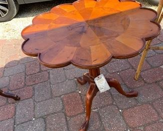 Antique lamp table - top folds over