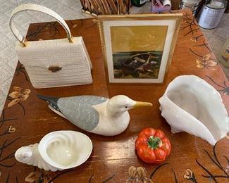 Signed decoy, print, vintage Koret bag, ceramics