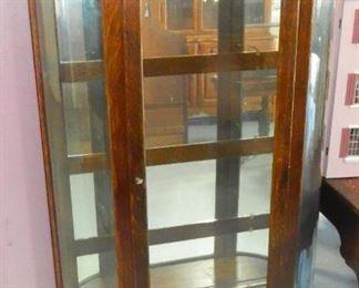 Oak Curved Glass China Cabinet