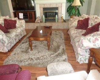 Sofa's, Shag rugs, Coffee table