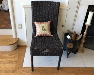 One of two caned chairs. (Pillow not for sale) $40 each.  Accessories shown are available onsite sale day only
