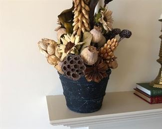 """Dried flower and seed pot arrangement. 21"""" h.  available durng on site sale"""