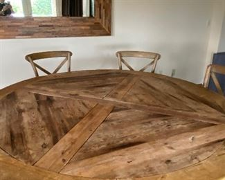 """Stunning dining table - solidly built. The table measures 66"""" dia. x 30"""" high. $2800. or best offer"""