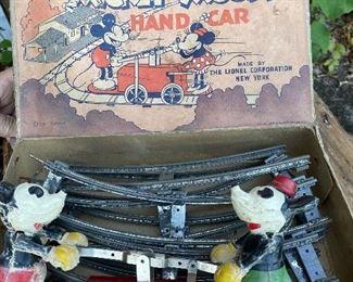 LIONEL MICKEY MOUSE HAND CAR IN ORIGINAL BOX