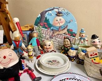 Humpty Dumpty and Friends Along With Wedgwood Dishes and Irmi Nursery Plastics night light